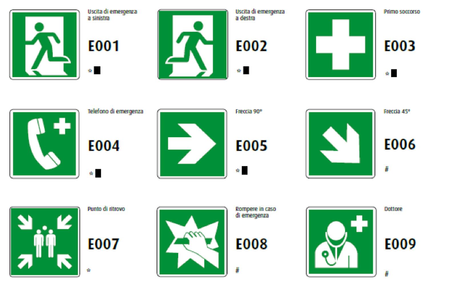 segnali di salvataggio o di soccorso Ellepi